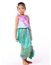 Girls Glitter Ariel Costume Cosplay include Mermaid dress pretty fantasia girl Halloween costume for Kids Children