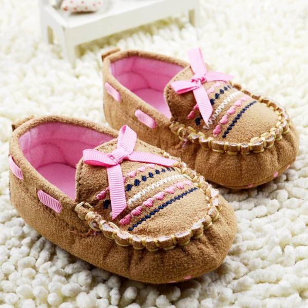 Brown Baby First Walk Shoes Soft Newborn Cotton Bow-knot Shoes Free Shipping