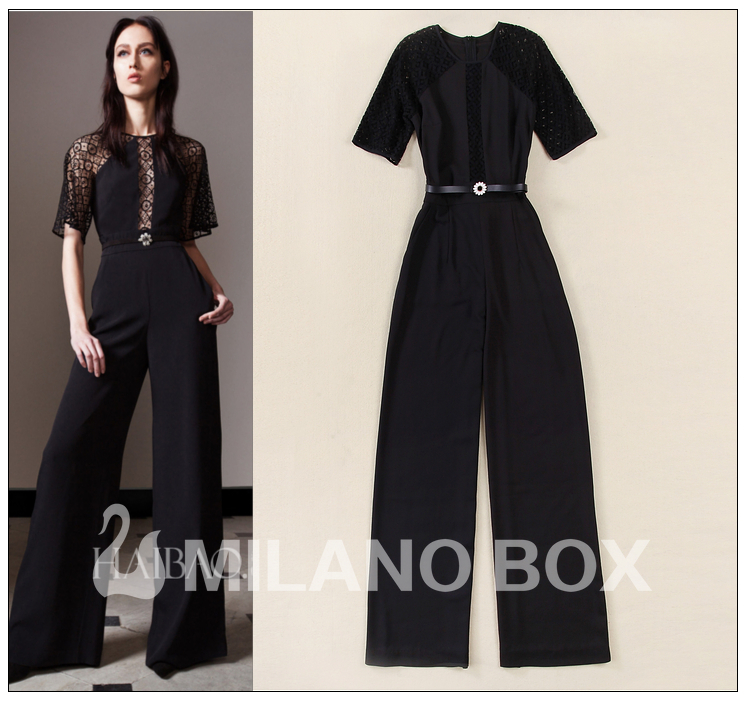 2015 runway jumpsuit quality brand jumpsuit(China (Mainland))