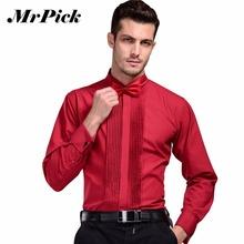 2016 New Brand French Cuff Button Shirt Men's Business Casual Shirts Wedding Dress Fashion Swallow Collar Shirts 3XL Z1542-Euro(China (Mainland))