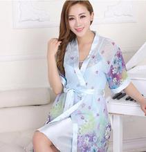 2015 Summer New Women Sexy Two-piece Pajamas Women's Robe Nightgown And Strap Ladies'nigthdress Losse Bathrobe Silk Sq904   (China (Mainland))