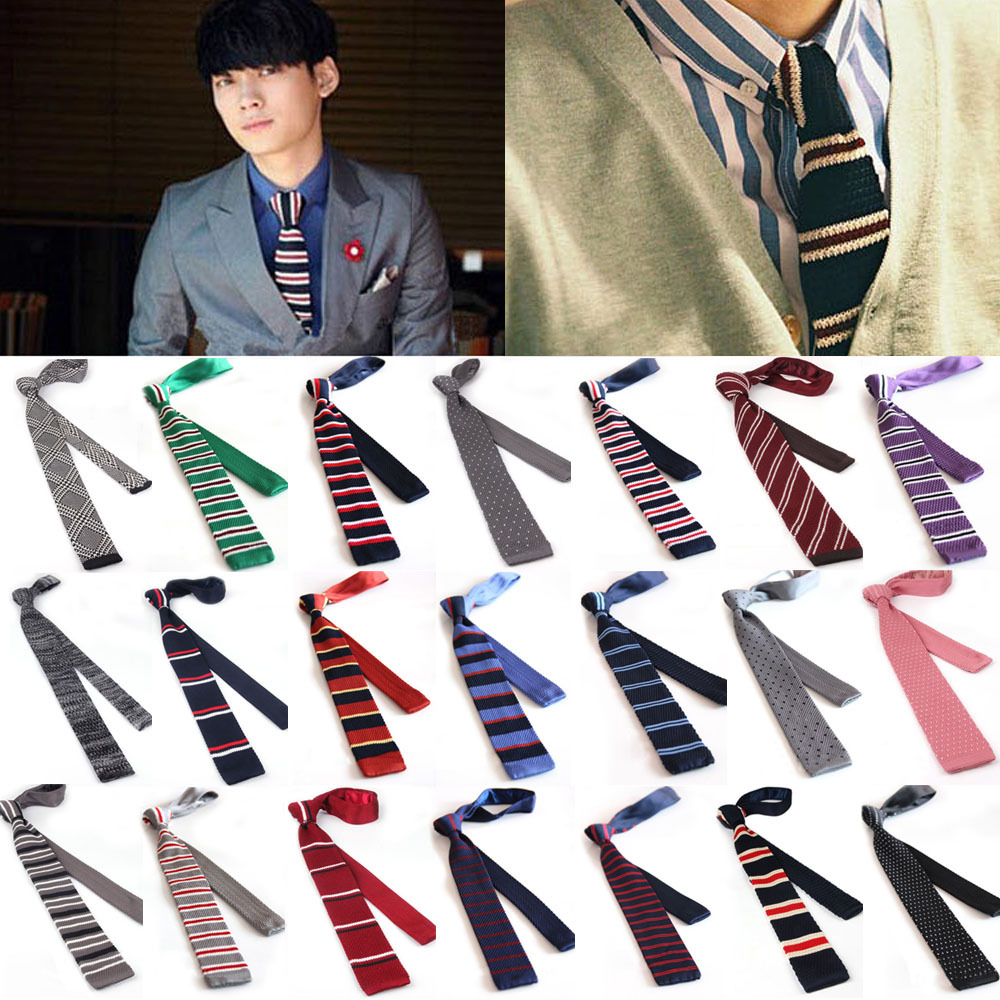New Hot Fashion Male Brand Slim Designer Knitted Neck Ties Cravate Narrow Skinny Neckties For Men