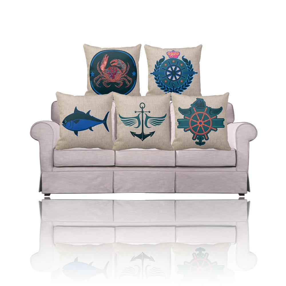 Navy Blue Rudder Anchor Print Nautical Decorative Throw