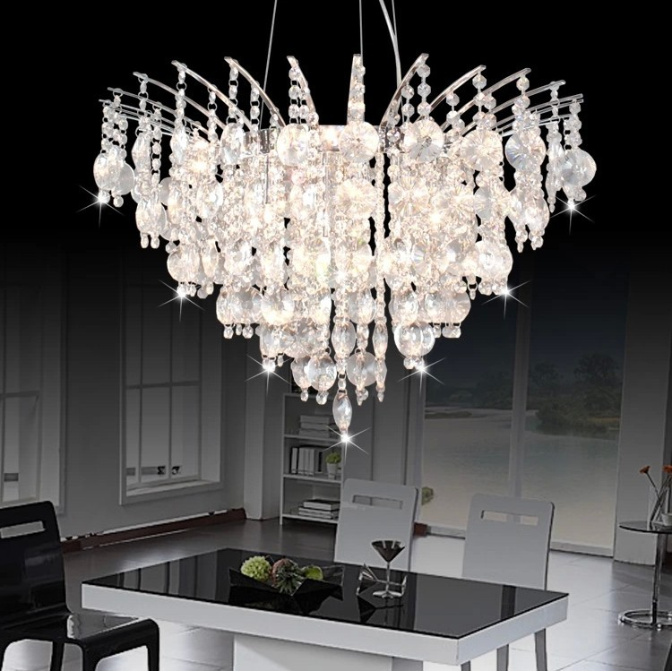 Free shipping hot sell modern fashion k9 crystal chandelier dining room living room chandelier - Dining room crystal chandelier ...