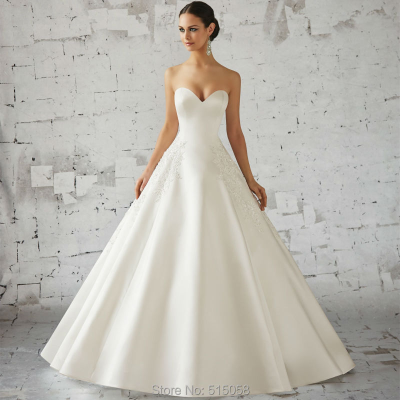 White ivory satin sweetheart bodice corset ball gown for Elegant ball gown wedding dresses