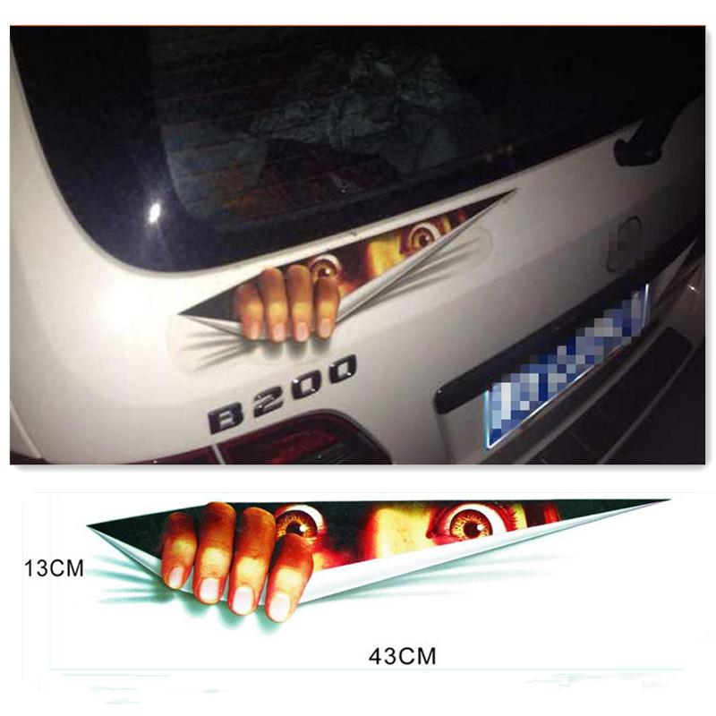 43 13cm Funny Car Sticker 3D Eyes Peeking Monster Voyeur Car Hoods Trunk Thriller Rear Window