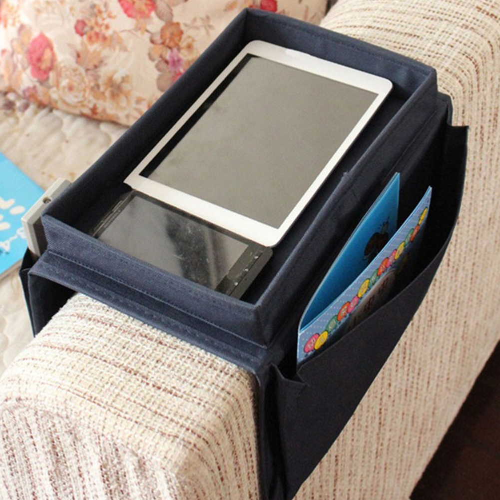 New 6 Pockets Arm Rest Organizer Remote Control Holder Table Bag Sofa Couch Storage Pouch Drop Shipping(China (Mainland))