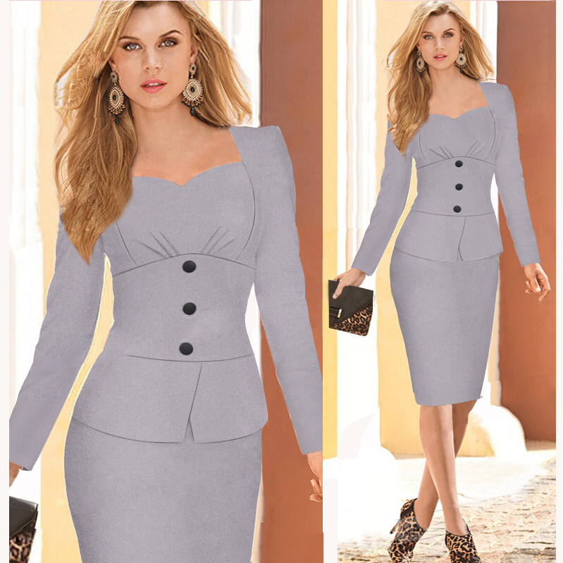 Wholesale New Women Elegant Uk Dresses Office Fashion Button Full
