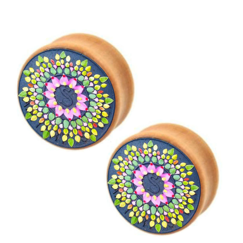 Flower Of Life Wood Ear Gauges Plugs And Tunnels Stretcher Expander 6mm-16mm Double Flared Plug Piecing<br><br>Aliexpress