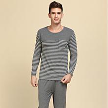 Qianxiu Pajamas Modal&Cotton Women and Men Sleepwear Classic Stripe Lounge Wear Long-sleeve Lovers Pajamas Set(China (Mainland))