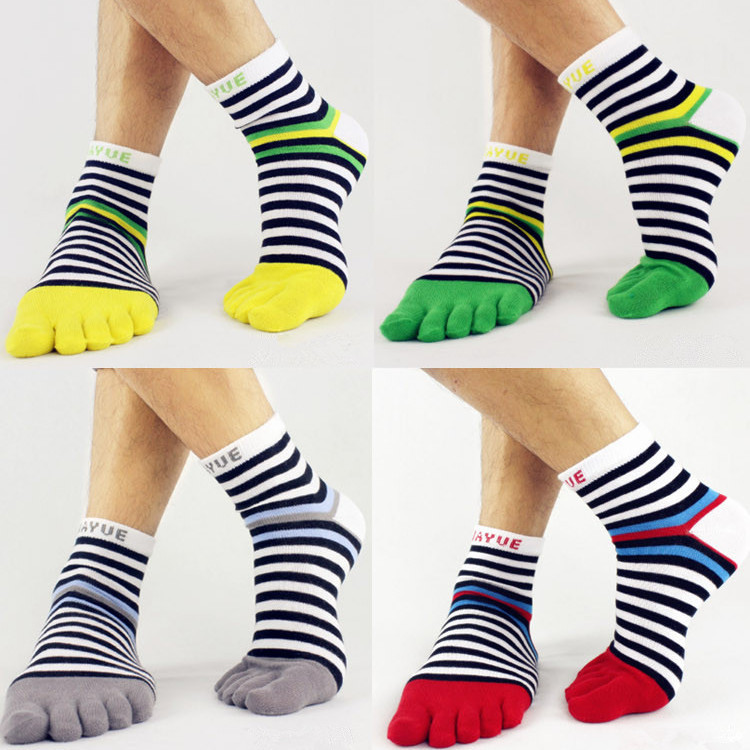 1pair Men's Five Toes Cotton Socks Fashion Cute Boys Divided Toe Striped Contrast Color Hosiery Free Shipping(China (Mainland))