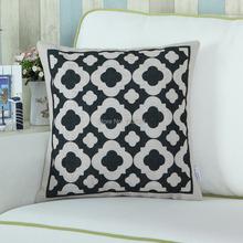 Shell Black Trellis Chain Print Cotton Linen Blend Cushion Cover Pillow