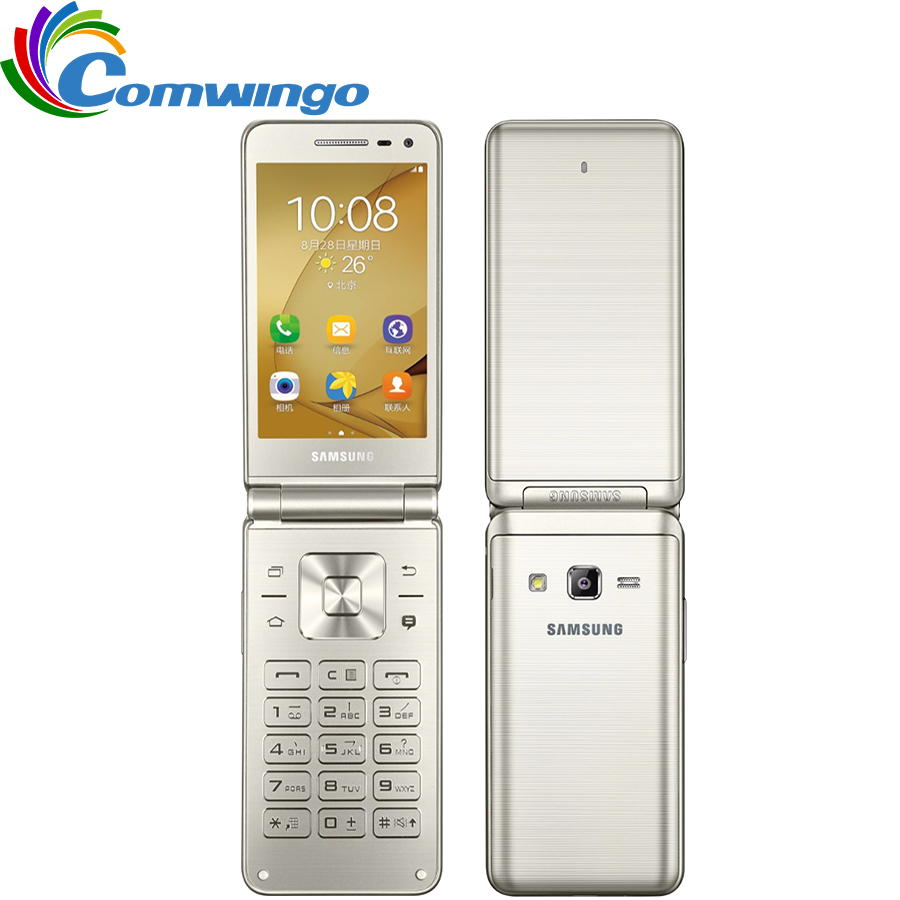 "Original Samsung Galaxy Folder G1600 (2016) Dual SIM LTE Cellphone Quard Core 480 x 800 1.4GHz 16GB ROM 2GB RAM 3.8"" inch Phone(China (Mainland))"