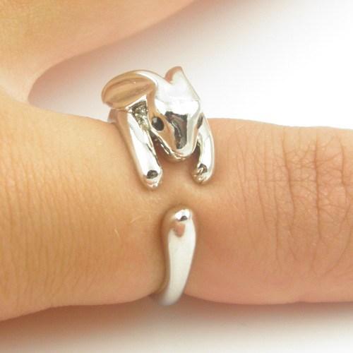 Adjustable Vintage Brass Dainty Tiny Bunny Animal Wrap Knuckle Ring Shiny Silver Rabbit Women Girls Fine Jewelry - Best Choose store