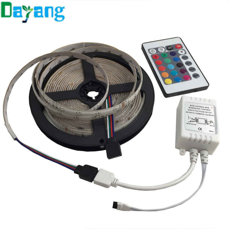 White Warm White Red Green Blue Yellow RGB color 3528 LED Strip lights Waterproof 5m 60leds/m SMD, RGB tape+IR Remote Controller(China (Mainland))