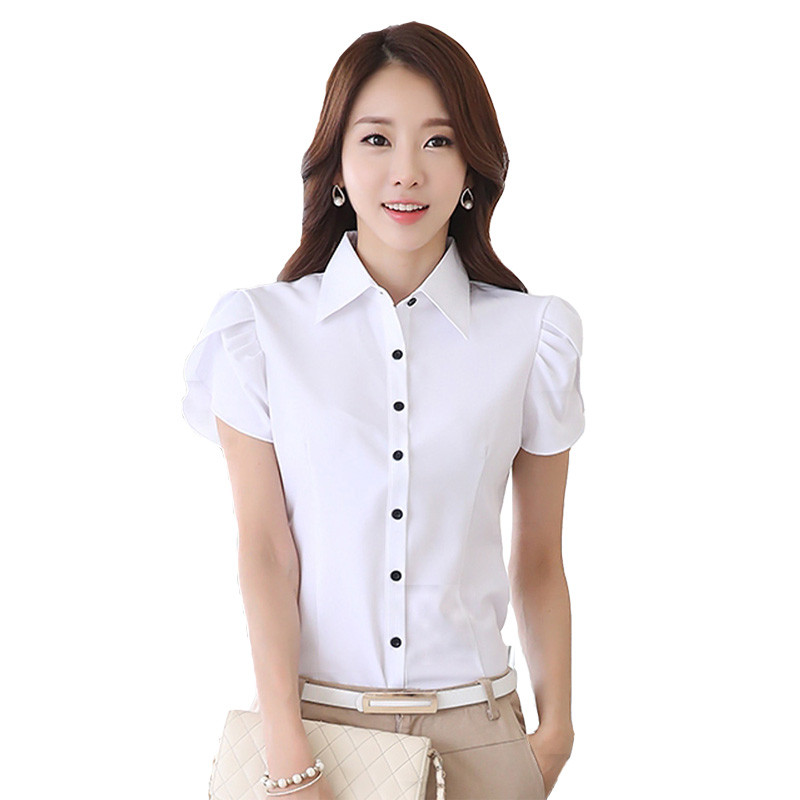 New Summer Fashion Tops Elegant Butterfly Short Sleeve Blouses OL Office White Black Casual Women Shirts Plus Size XXXXXL(China (Mainland))