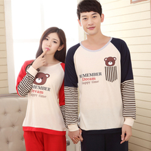 Korean Pajama Sets Couple Lovers Sleepwear Sets Male Long-Sleeved Pajamas for Couples Nightwear Pijama Hombre Spring 2016(China (Mainland))