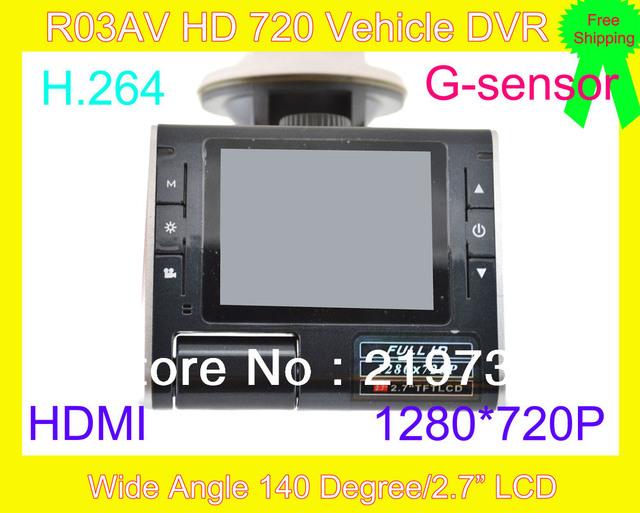 "Car DVR , CarCam HD 720P Car DVR Recorder 140 degree Wide Angle Car DVR recorder w/ HDMI//TF Slot (2.7"" TFT LCD)R03AV"
