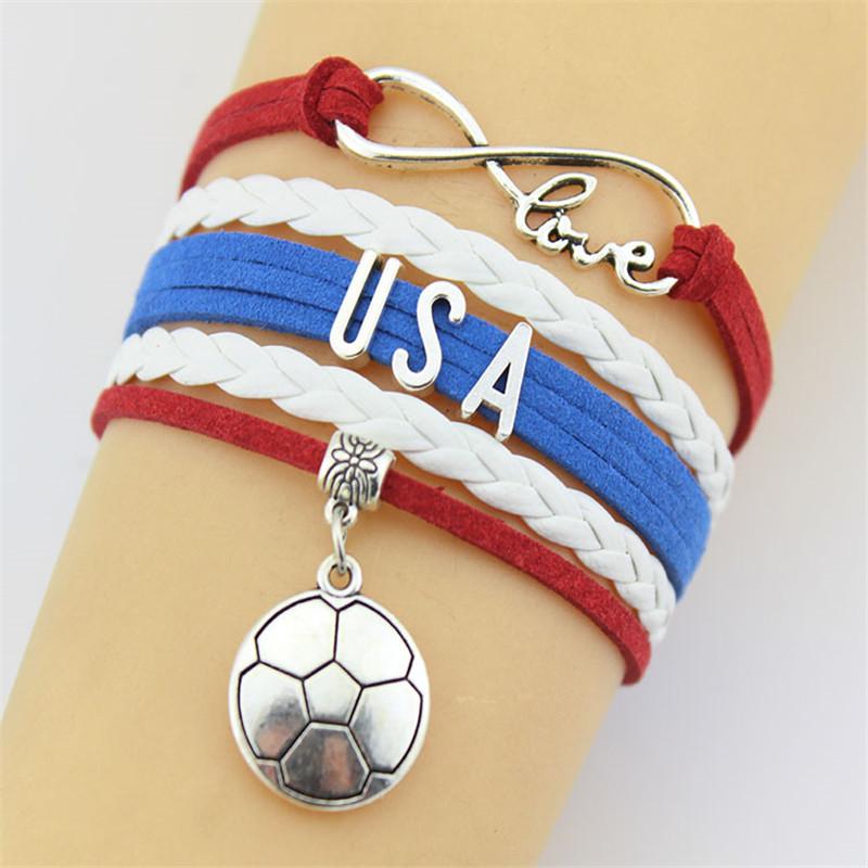 (10pcs/Lot) Infinity Love USA bracelet Football sport team custom made Design Sport Theme leather charm bracelets & bangles(China (Mainland))