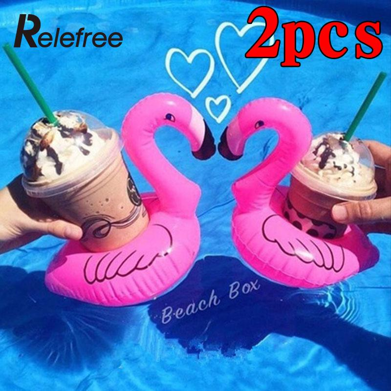 2-pieces Cute Inflatable Flamingo Cola Cup Holder Can Holder Swim Pool Float Beach Party Kid Pool Inflatable Cup Holder Pool Toy(China (Mainland))