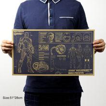 Herói da Marvel Homem De Ferro Do Vintage de Papel Kraft Clássico Movie Poster Home Decor Art Escritório Escola DIY Retro Imprime Meninos Brinquedo figuras(China)