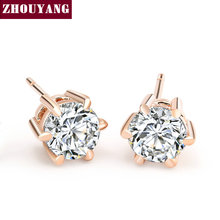 Buy Six Claws 5mm 0.5ct Cubic Zirconia Rose Gold Color Crystal Stud Earrings Jewelry Wedding Wholesale ZYE036 for $1.41 in AliExpress store