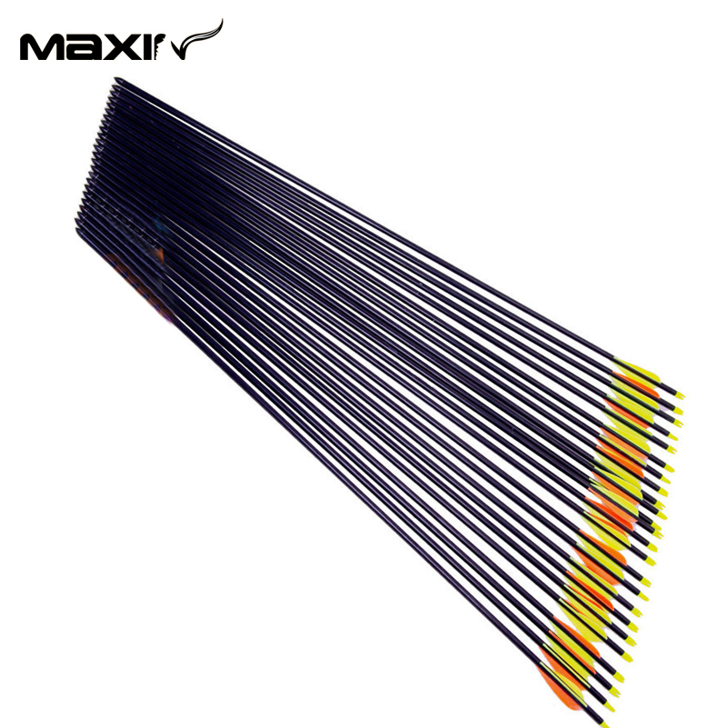 24x Fiberglass Arrows 82cm Spine 30 to 80lbs Archery Arrow Supplier Orange Yellow Plastic Feather Arrow