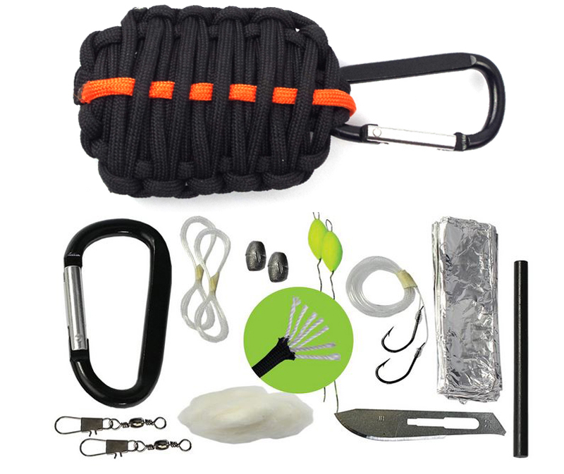 Paracord Survival Emergency Kit  Grenade Style with Carabiner  Includes 10 Life-Saving Tools Plus Eye Knife  Best Quality edc <br><br>Aliexpress