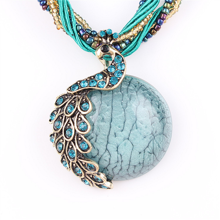 2016 new Peacock decoration rough necklace Female clavicle short chain Turquoise stone pendant necklaces summer style jewelry(China (Mainland))