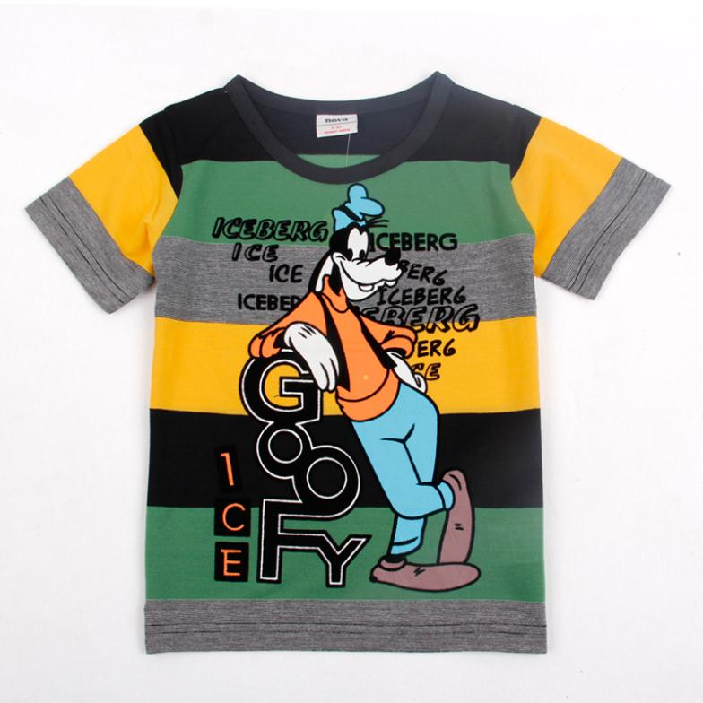 FREE SHIPPING CA2183# Kids wear clothing printed cartoon dog Goofy boy fashion short sleeve t-shirts(China (Mainland))