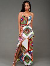 2016 Hot Sexy Women Dress V-Neck Geometric Print Maxi Long Dress Sleeveless Beach Summer Dresses Sundress