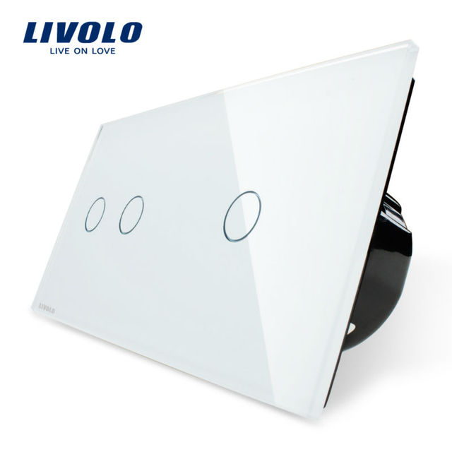 Livolo Touch Switch, 2Gang Left+1Gang Right White Crystal Glass Panel,Wall Light Switch+LED Indicator, VL-C702-11/VL-C701-11