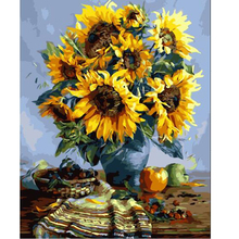 DIY oil painting paint by number canvas picture home wall decor sunflowers drawing coloring paint craft painting by numbers E081(China (Mainland))