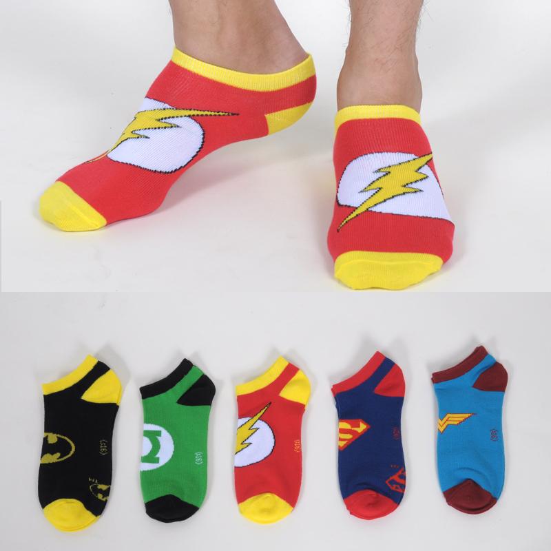 Comic Men Socks Superman The Flash Batman Green Lantern Wonder Woman Man Short Socks Summer Hot Unisex Sox Shallow Mouth Sock(China (Mainland))