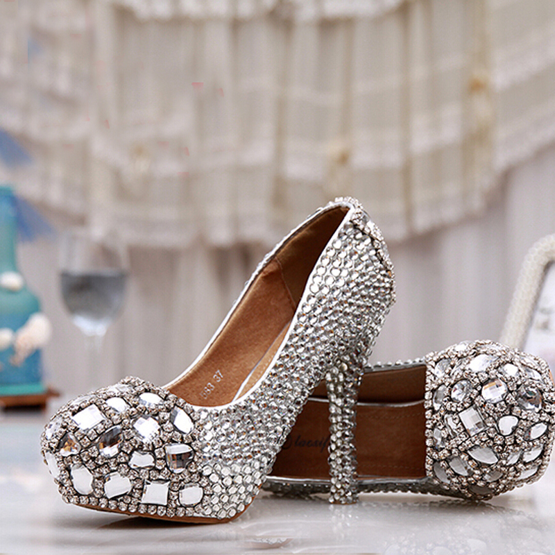 2015 silver graduation prom shoes high heel crystals