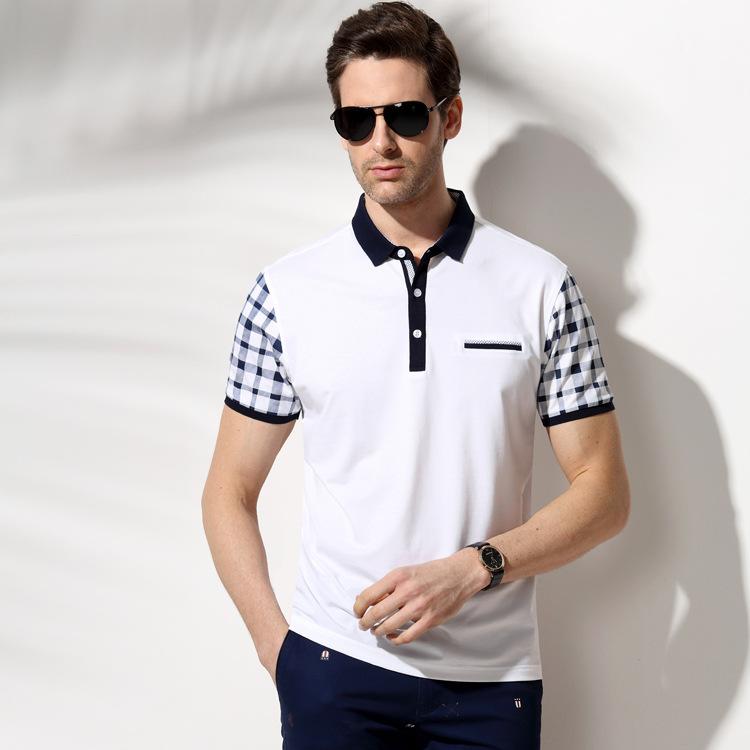 2016 new men's short sleeve white polo shirts fashion brand clothing high quality cotton men casual tee shirt summer spring(China (Mainland))