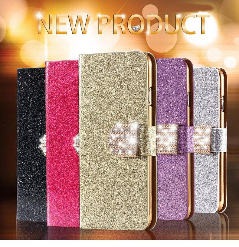 Glitter Golden Bling Sand Leather Phone Case For Sony Xperia SP M35h C5302 C5303 C5306 Magnetic Flip Cover Bag