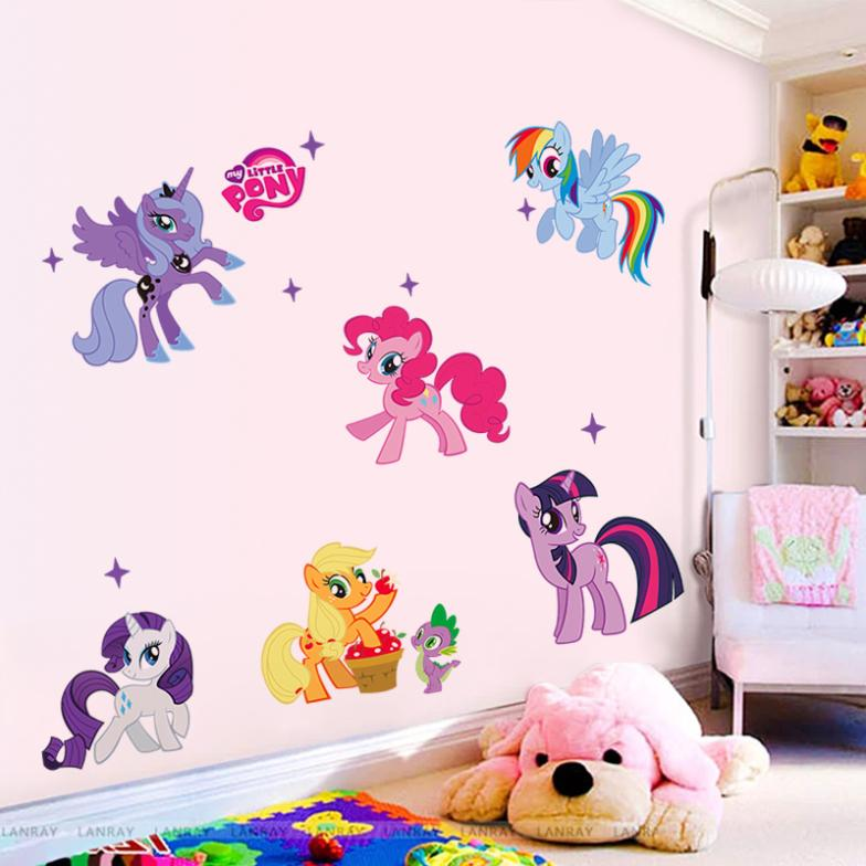New arrival Kid Wall Stickers My Little Pony 6 ponies removal wall sticker girls sticker for kids 1425factory sales directly(China (Mainland))