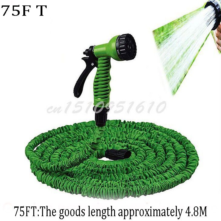Hot sale! 75FT Rewindable and Anti-Corrosion Expandable Rubber hose Garden Water Hose Blue and Green Color +Spary Gun K403(Zambia)