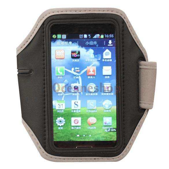 Soft Running Sports Gym Armband Case Cover for Samsung Galaxy I9500 S4 Grey(China (Mainland))