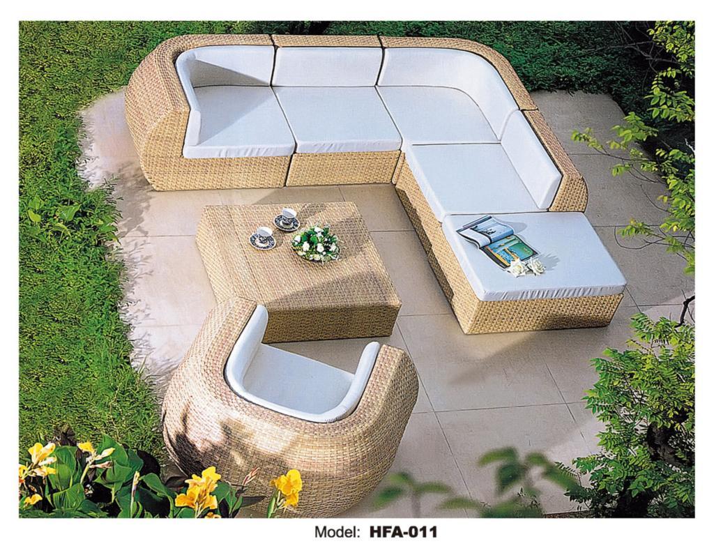 Rattan Outdoor Sofa Set 6 Seat Garden Furniture with Table Chiar Rattan Sofa Set Wicker Patio Outdoor Furniture Set HFA011(China (Mainland))