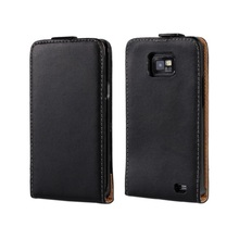 High Quality Genuine Leather Flip Vertical Cover Case For Samsung Galaxy S2 i9100 SII I9100 Drop Shipping(China (Mainland))