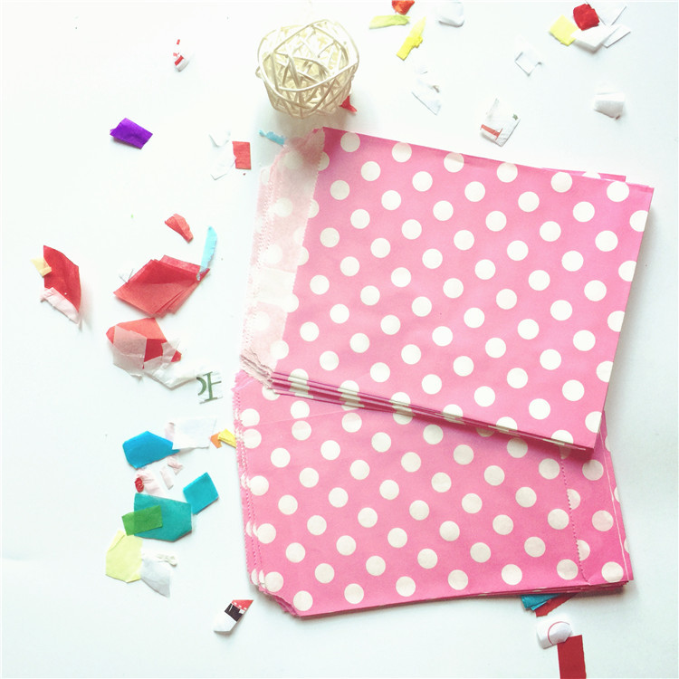 50pcs Mixed Colors Wedding Favor Buffet Hot Pink Paper Party Candy Treat Bags Small Tiny Polka Dot(China (Mainland))