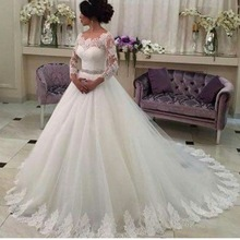 Buy Vestido De Noiva Ball Gown Long Sleeve White Lace Wedding Dress 2017 Bridal Gowns Appliques Vestido Casamento Mariage GB80 for $161.49 in AliExpress store