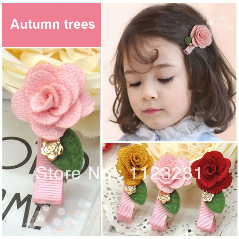 Free shipping! 60PCS/lot 3 colors pure color flower hairpin, baby girl's hair accessories products(China (Mainland))