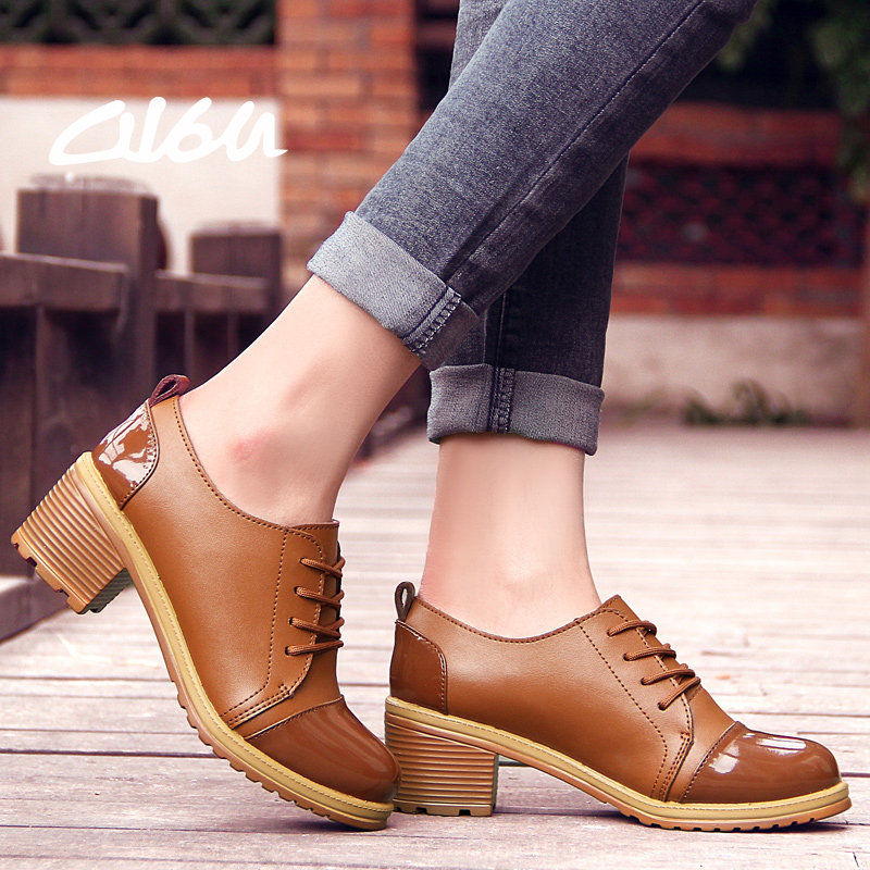 2016 Women Pumps Shoes Casual Patent Leather Lace-up thick Heels Round toe top grade Solid Fashion Ladies Black Brown Summer691(China (Mainland))