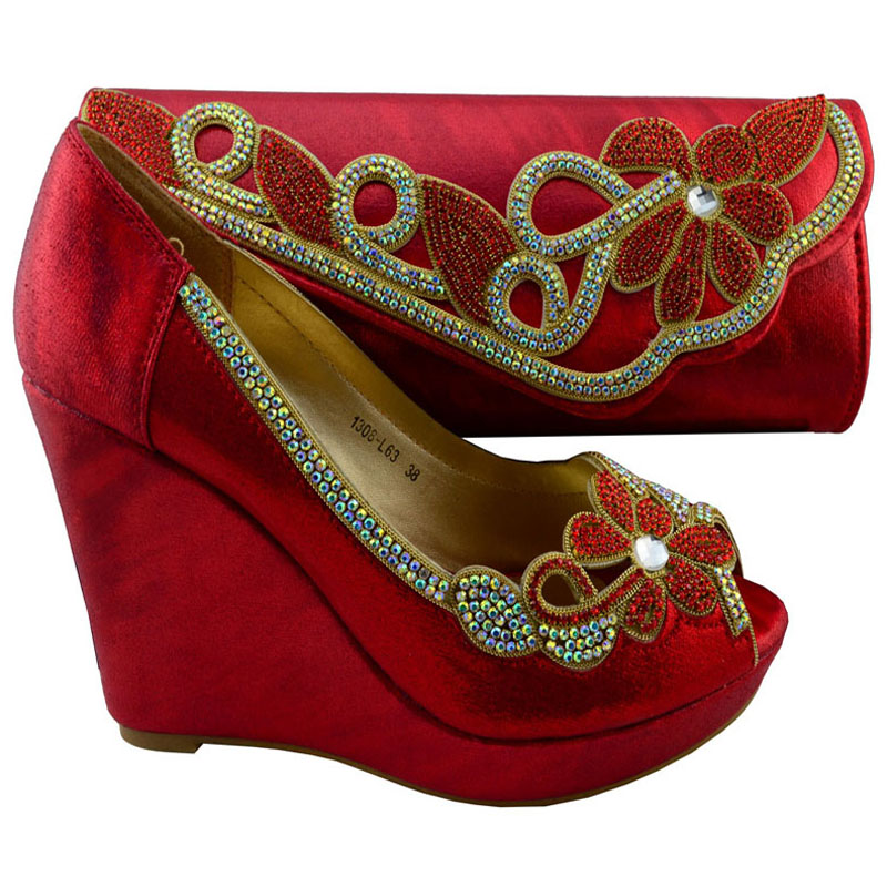 Фотография 1308-L63 Red dress shoes and matching bags/italian shoes and bag set/african shoes and bags
