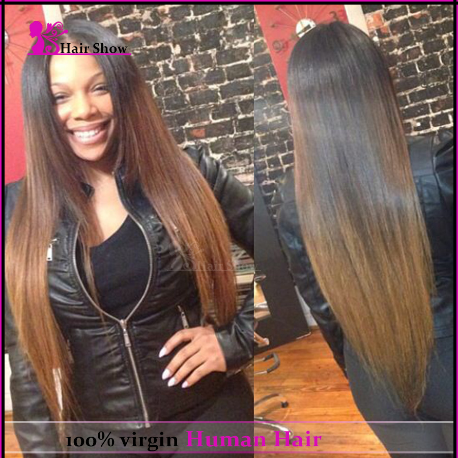Glueless Full Lace Wigs Human Hair Ombre Lace Front Brazilian Hair Wigs U Part Human Hair Wigs Silky Straight #1b/30 Lace Wig