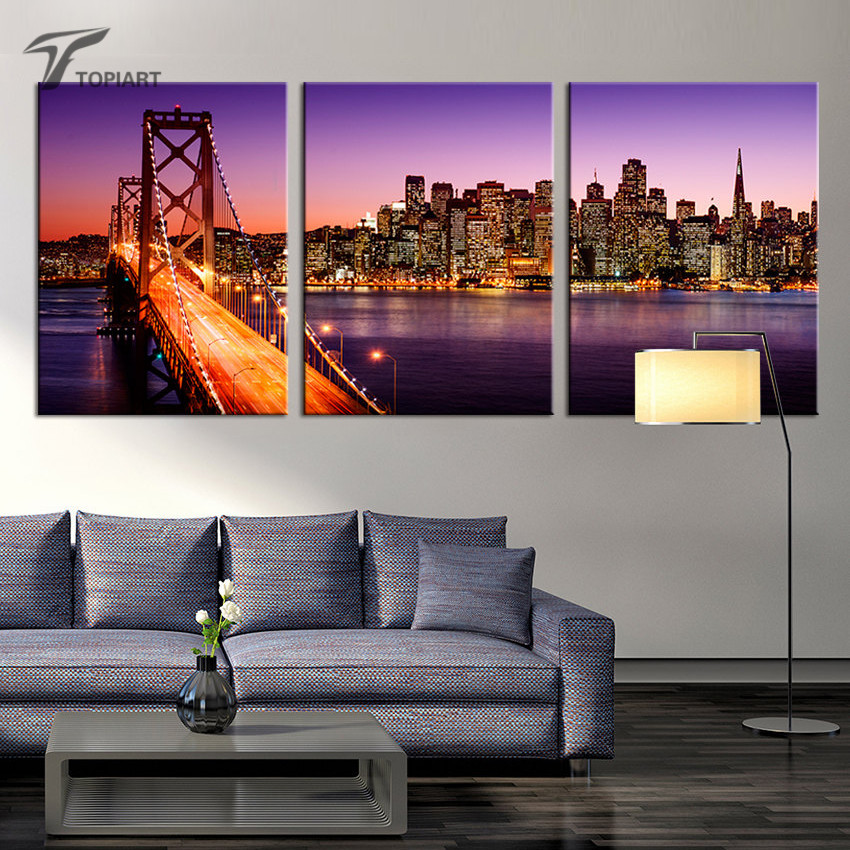 Home Decor Oversize Canvas Print San Francisco Night Skyline Cityscape Paintings Bay Bridge Sunset California Wall Pictures 3Pcs(China (Mainland))