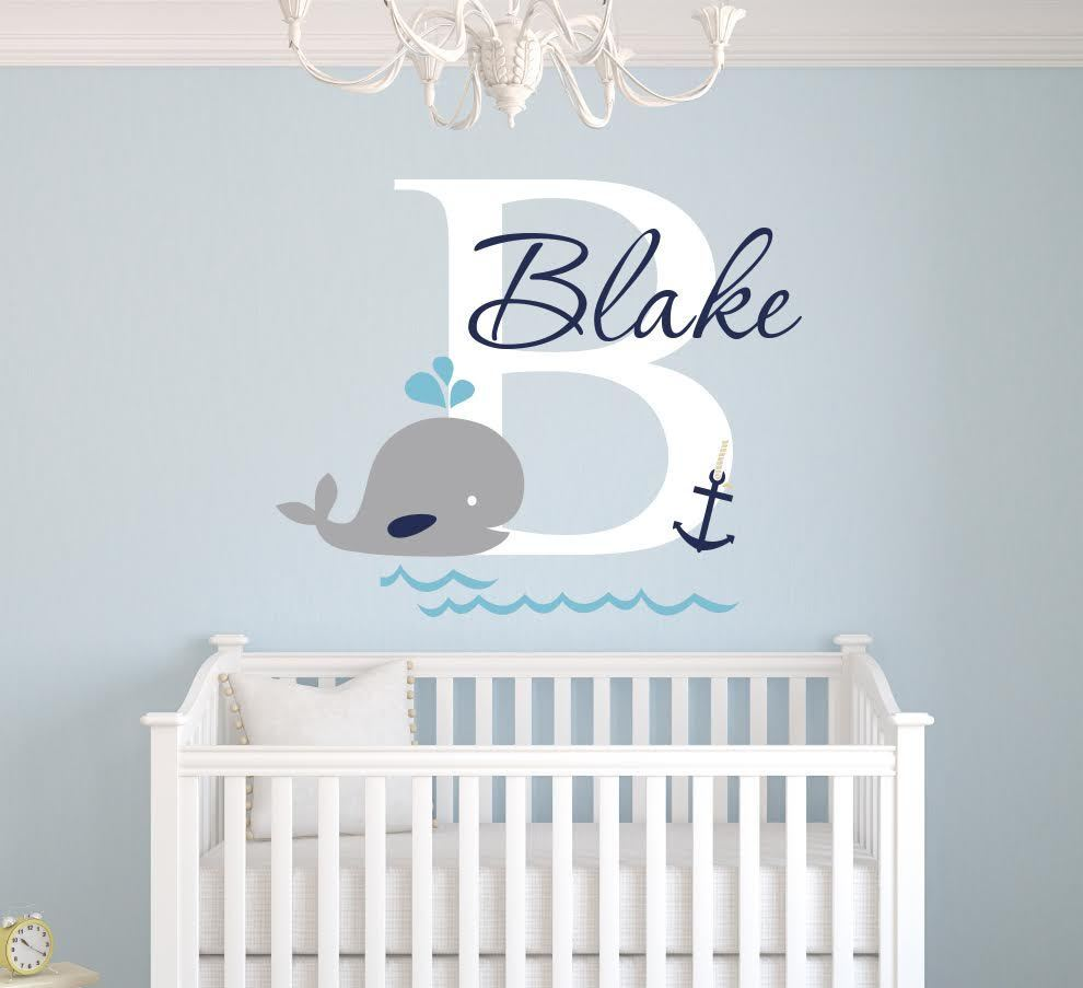 Custom Whale Name Wall Decal Nursery Wall Decals Boys ...